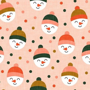 Happy Snowman - multi polka dots - cute snowman faces on blush - LAD19