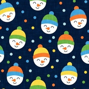 Happy Snowman - multi polka dots - cute snowman faces on navy  - LAD19