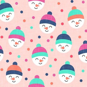 Happy Snowman - multi polka dots - cute snowman faces on pink - LAD19