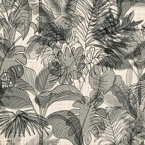 Deep Jungle on basket weave background