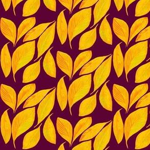 Golden Autumn Leaves on Dark Plum - Small Scale
