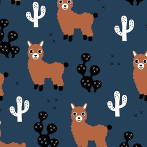 Soft pastel llama alpaca love cactus autumn fall winter navy blue terra cotta