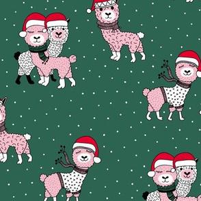 Winter wonderland llama friends in sweaters and santa hats alpaca snow Christmas winter forest green pink