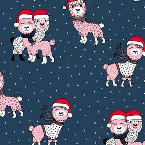 Winter wonderland llama friends in sweaters and santa hats alpaca snow Christmas winter navy blue night pink
