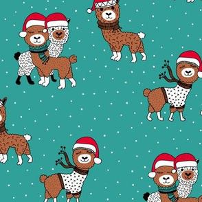 Winter wonderland llama friends in sweaters and santa hats alpaca snow Christmas winter teal emerald blue