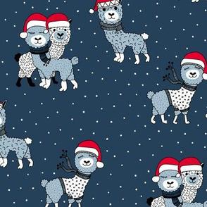 Winter wonderland llama friends in sweaters and santa hats alpaca snow Christmas winter navy blue night boys