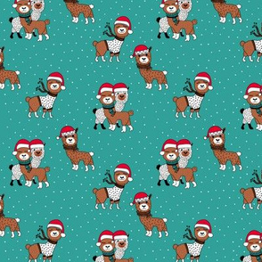 Winter wonderland llama friends in sweaters and santa hats alpaca snow Christmas winter blue teal green red