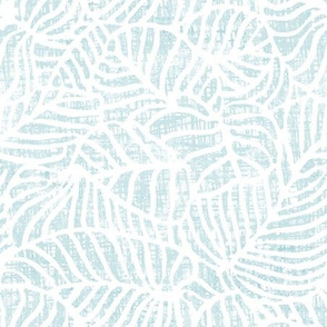 White leaf on  worn etched light blue