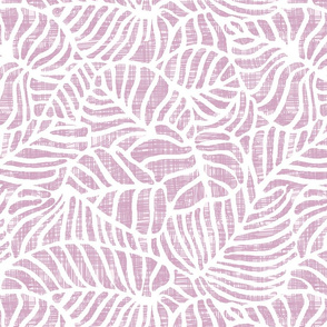White leaf on light purple thatched pattern