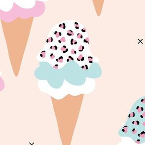 Sweet leopard animal print ice-cream cones summer love candy blue pink girls JUMBO
