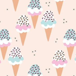 Sweet leopard animal print ice-cream cones summer love candy blue pink girls