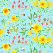 seamless_bees and florals_blue_150dpi