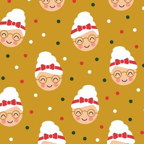 Mrs. Claus - polka dots on gold - LAD19