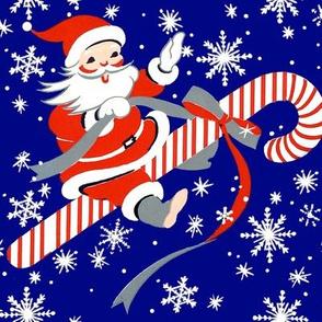 merry Christmas xmas Santa Claus snow snowflakes candy cane peppermint bows flying riding sky night dark blue red white vintage retro kitsch stars