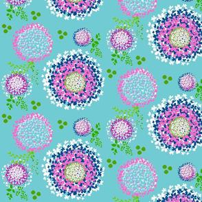 Dreamy Floral blooms - Aqua ocean