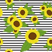 Sunflowers on MEDIUM stripes