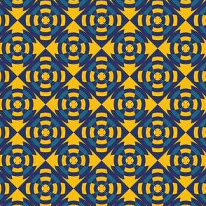 Simple geometric stripe flower yellow and blue