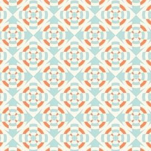 Simple geometric stripe flower orange and light blue