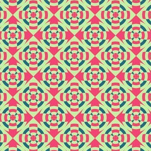 Simple geometric stripe flower red and green