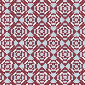 Simple geometric stripe flower red and blue