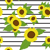 Sunflowers on LARGE stripes