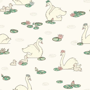 Vintage Swan Pond with Water Lilies seamless pattern background.