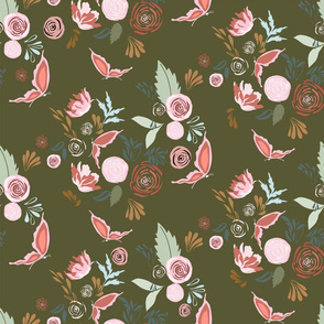 Fall Flutter Sage | Green & Pink | Renee Davis