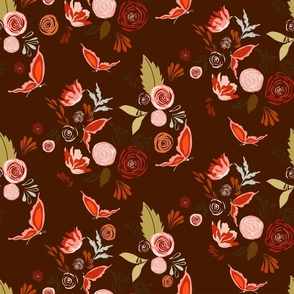 Fall Flutter |Spice | Brown & Pink | Renee Davis