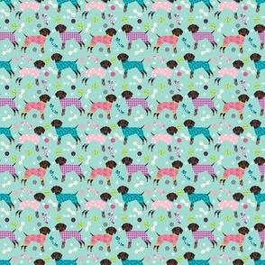 TINY - german shorthaired pointer dog pajamas fabric // dog pajamas fabric, dog pyjamas fabric, cute pointer dog, gsp fabric, gsp dog, - mint and pink