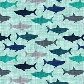 half scale // linen sharks // on aqua linen