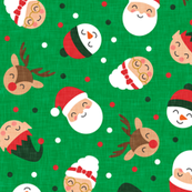 holiday gang - cute Christmas fabric - santa, mrs. claus, reindeer, snowman, elf - green - LAD19