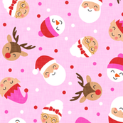 holiday gang - cute Christmas fabric - santa, mrs. claus, reindeer, snowman, elf - pink on pink - LAD19