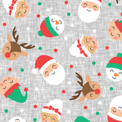 holiday gang - cute Christmas fabric - santa, mrs. claus, reindeer, snowman, elf - grey - LAD19