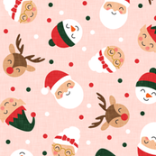 holiday gang - cute Christmas fabric - santa, mrs. claus, reindeer, snowman, elf - dark green on pink - LAD19