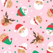 holiday gang - cute Christmas fabric - santa, mrs. claus, reindeer, snowman, elf - pink - LAD19