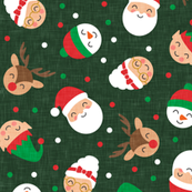 holiday gang - cute Christmas fabric - santa, mrs. claus, reindeer, snowman, elf - dark green - LAD19