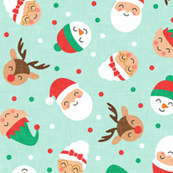 holiday gang - cute Christmas fabric - santa, mrs. claus, reindeer, snowman, elf - mint - LAD19