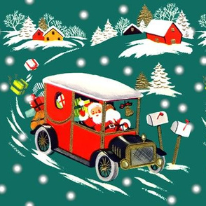 merry Christmas xmas snow Santa Claus classic cars vintage cars delivering presents gifts winter towns homes houses trees green retro kitsch driving