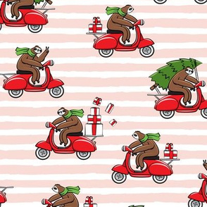 scooter sloths - pink stripes - christmas sloth - LAD19