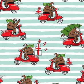 scooter sloths - mint  stripes - christmas sloth - LAD19