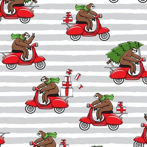 scooter sloths - grey stripes - christmas sloth - LAD19