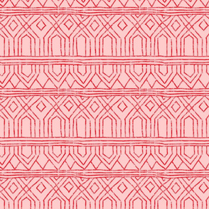 Red thatched tribal on pink