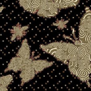 BOLDER Gold Moths with Spirals on Black