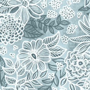 Slate Blue Floral Retreat by Angel Gerardo - Jumbo Scale