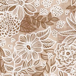 Tan Brown Russet Floral Retreat by Angel Gerardo - Jumbo Scale