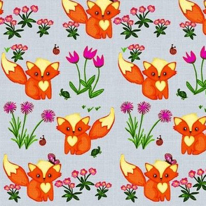 Flutterbies, Flowers & Foxes -on grey