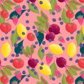 Garden harvest fruit and vege on pink