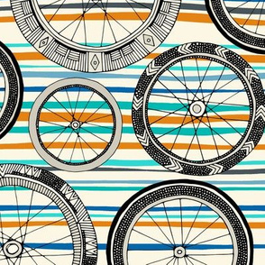 bike wheels blue orange