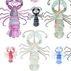 Watercolour Lobsters (Large Scale)