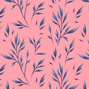 Delicate Leaves - Coral / Navy